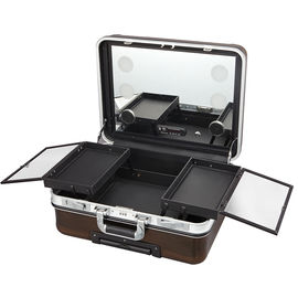 Rolling Makeup Case With Mirror , Makeup Vanity Box With Mirror And Lights