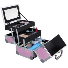 Portable Mini Makeup Vanity Case Organizer Box With Mirror 2 Trays Pink