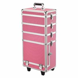 Customized Trolley Cosmetic Vanity Case , Outdoor Makeup Trolley With Wheels