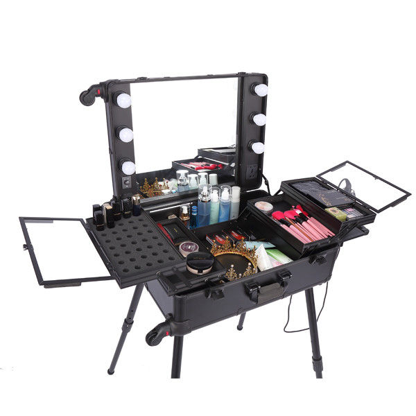 Shining Appearance Makeup Case With Mirror And Lights Long Lasting Usage